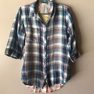 Soft Surroundings Embroidered and Plaid Blouse